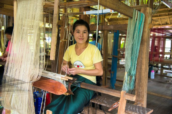 Woman making fabric Laos