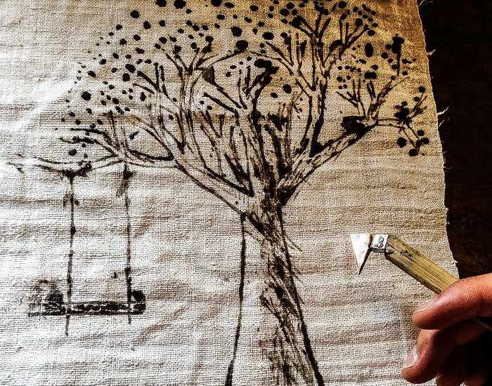 Hmong textiles - tree pattern drawing