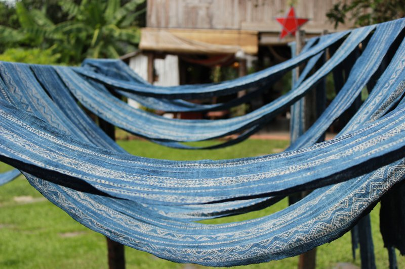 Laos-traditional textiles-blue patterns clothing