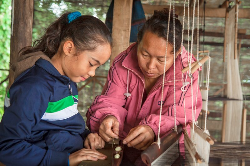 Two females - Weaving Classes - Laos