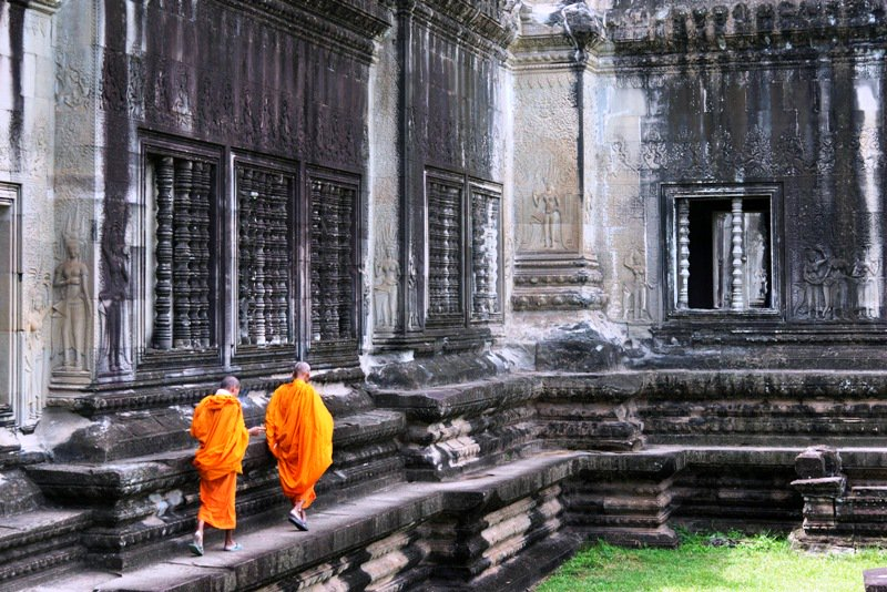 angkor conservationist-cambodia-two monks