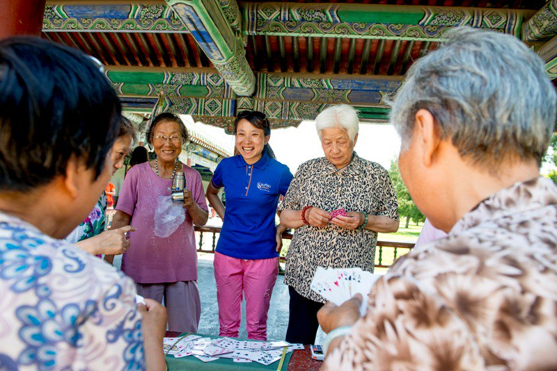 Chinese elderly playing cards