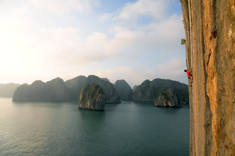 wellness travel in Asia- rock climbing Halong Bay